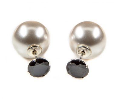 11074 Double Dots Black Zirkone White Pearl