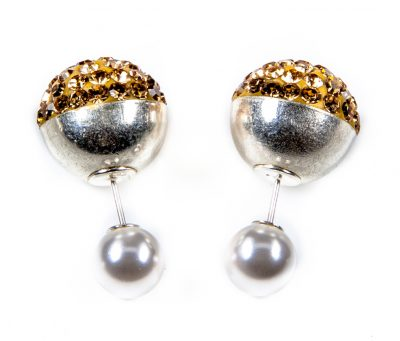 11089 double Dots Silver Gold Crystal