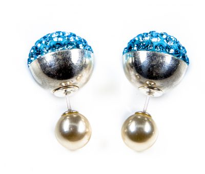 11093 Double Dots Silver Light Blue Crystal